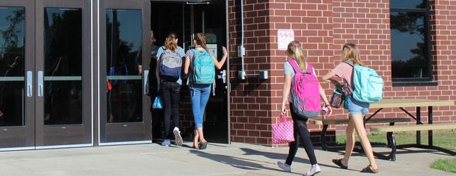 Walking into school