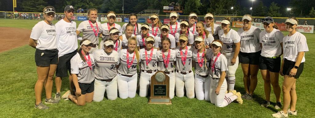 girls softball team at state